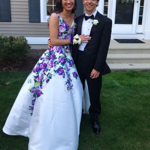 uk availability best website arriving Jovani Dresses | White And Purple Flower Prom Dress | Poshmark